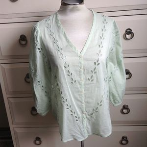 LUCKY BRAND mint green eyelet blouse S